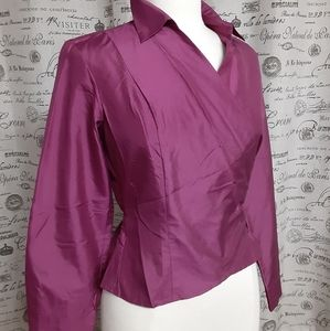 Ann Taylor 100% Silk Wrap Shirt
